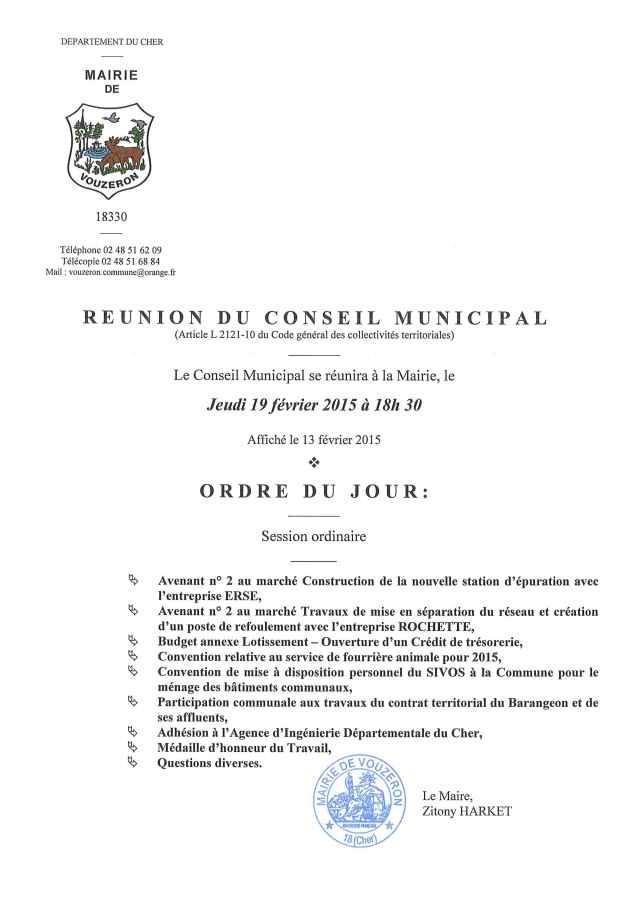 Réuion Conseil Municipal