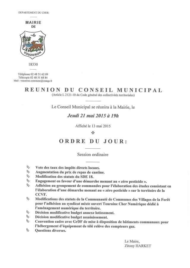Réunion conseil municipal